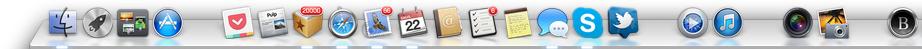 Aplikacijos Apple OS X Dock'o juostoje sugrupuotos jas atskiriant tarpais